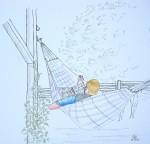 Un moment de farniente - Crayons de couleurs et feutre - Juillet 2013