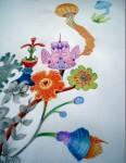 Bouquet - Graphite et crayons de couleur - Juin 2015