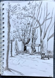 Esplanade de l'autre côté du tram' - Feutre fin noir et feutre pinceau gris