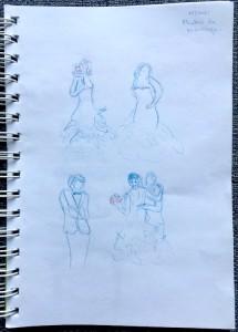 Séance de photos pour jeunes mariés - Crayons de couleur bleu et rouge